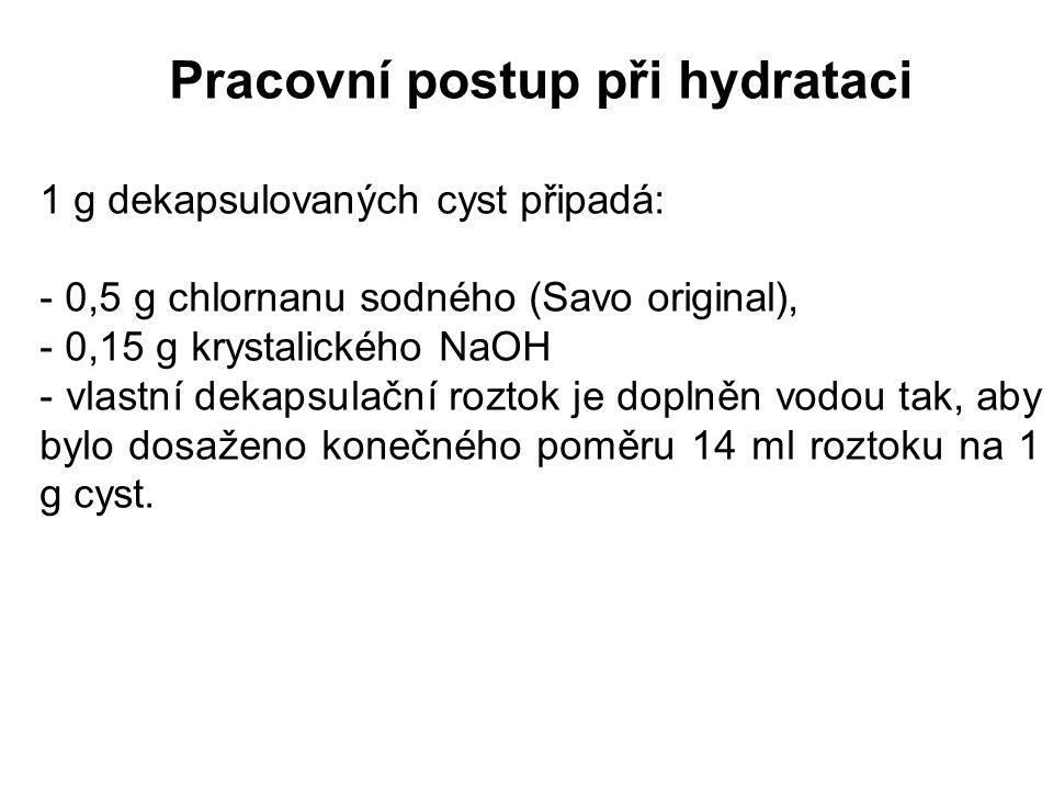 Pracovní postup při hydrataci 1 g dekapsulovaných cyst připadá: - 0,5 g chlornanu sodného (Savo original), - 0,15 g krystalického NaOH - vlastní dekap