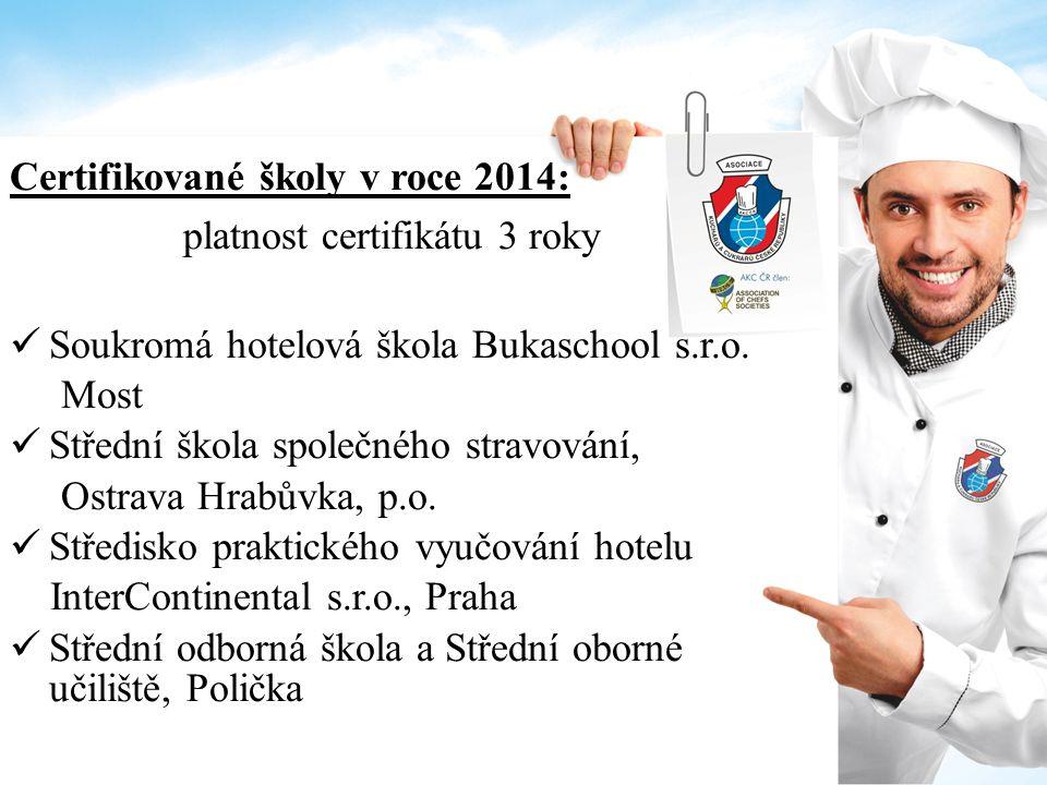 Certifikované školy v roce 2014: platnost certifikátu 3 roky Soukromá hotelová škola Bukaschool s.r.o. Most Střední škola společného stravování, Ostra
