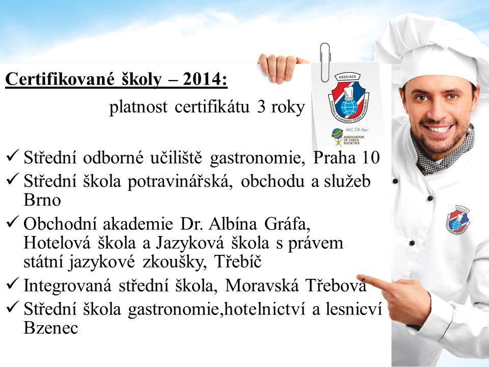 Certifikované školy – 2014: platnost certifikátu 3 roky Střední odborné učiliště gastronomie, Praha 10 Střední škola potravinářská, obchodu a služeb Brno Obchodní akademie Dr.