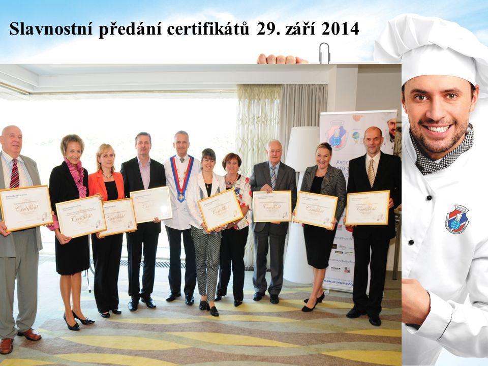 Slavnostní předání certifikátů 29. září 2014