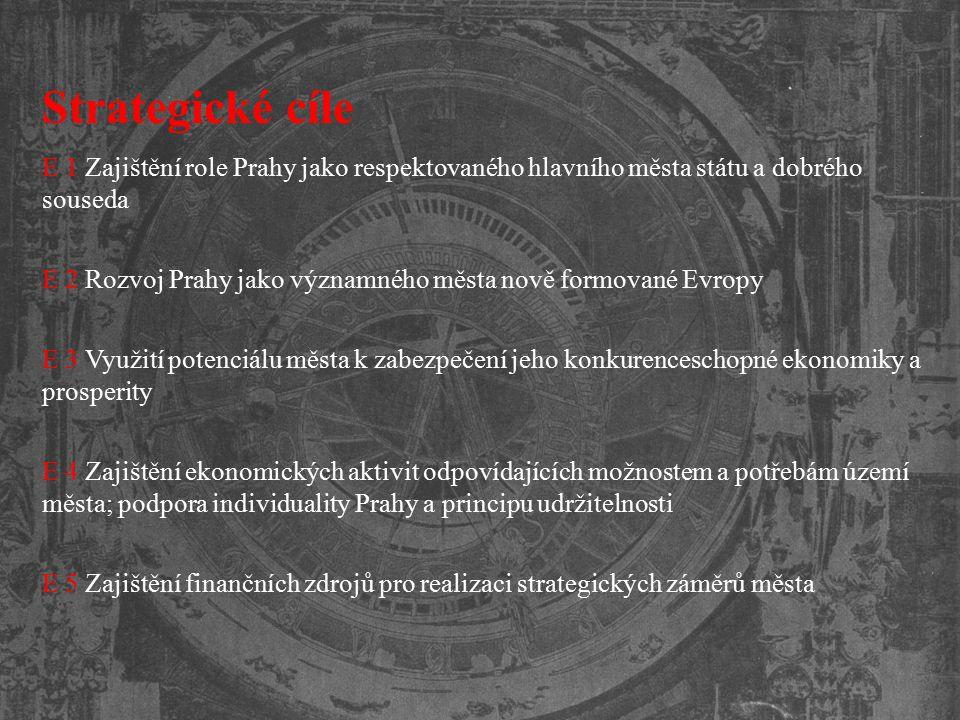 Strategické cíle E 1 Zajištění role Prahy jako respektovaného hlavního města státu a dobrého souseda E 2 Rozvoj Prahy jako významného města nově formo