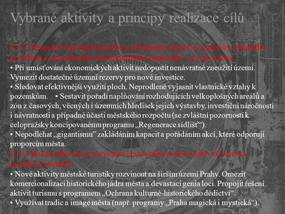 Vybrané aktivity a principy realizace cílů E 4.1 Respektování historického a urbánního dědictví, kapacity lokálního prostředí a zamýšleného dlouhodobé