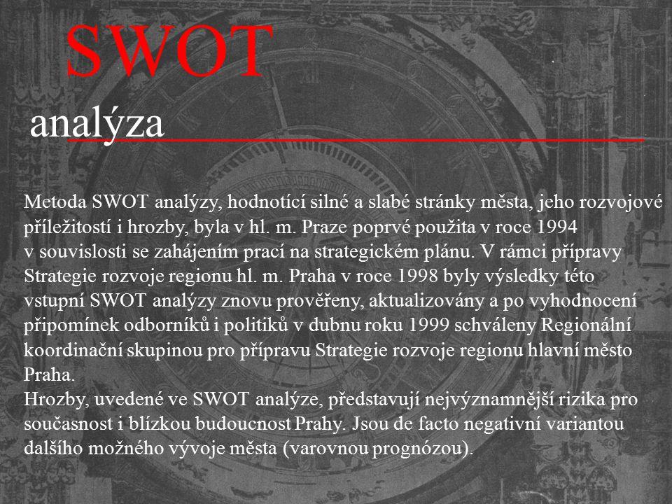 Metoda SWOT analýzy, hodnotící silné a slabé stránky města, jeho rozvojové příležitostí i hrozby, byla v hl. m. Praze poprvé použita v roce 1994 v sou