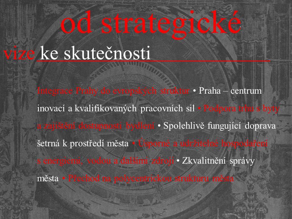 od strategické vize ke skutečnosti Integrace Prahy do evropských struktur Praha – centrum inovací a kvalifikovaných pracovních sil Podpora trhu s byty