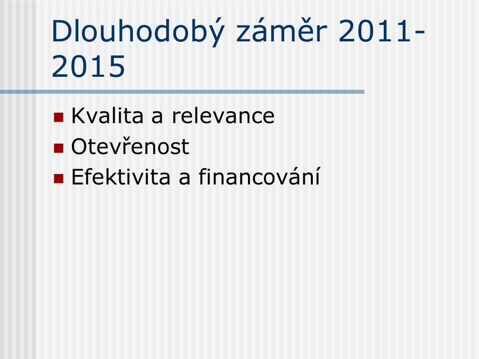 Dlouhodobý záměr 2011- 2015 Kvalita a relevance Otevřenost Efektivita a financování