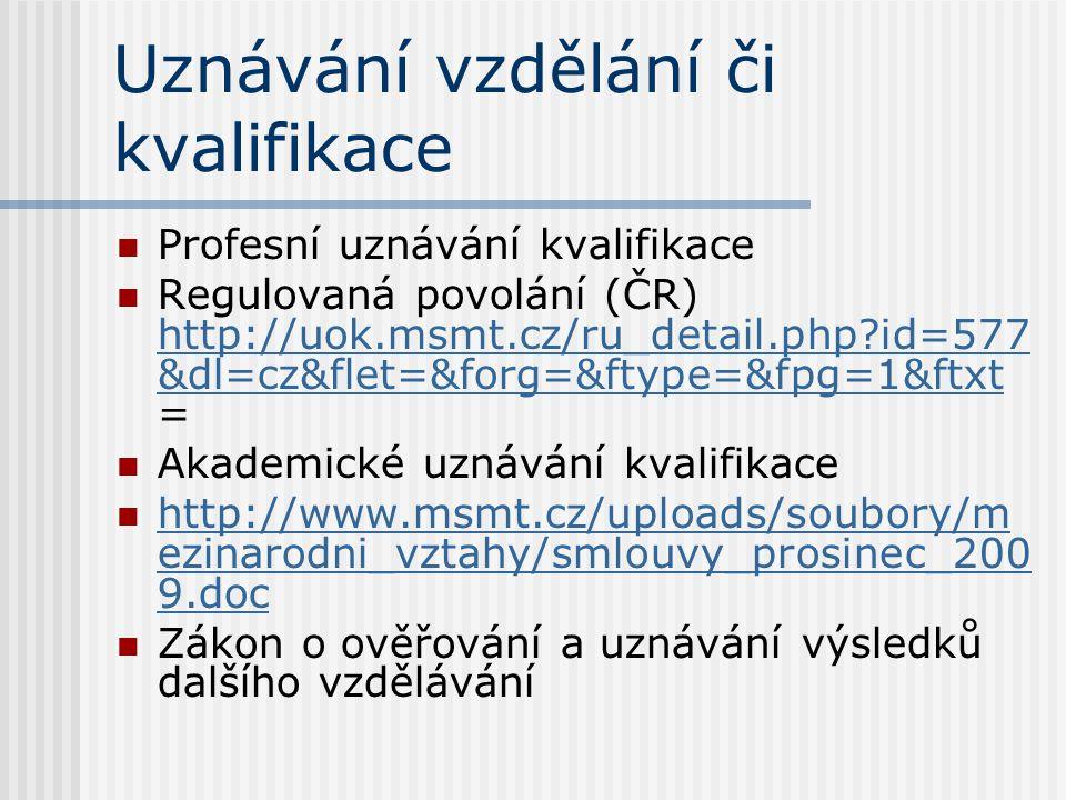 Uznávání vzdělání či kvalifikace Profesní uznávání kvalifikace Regulovaná povolání (ČR) http://uok.msmt.cz/ru_detail.php id=577 &dl=cz&flet=&forg=&ftype=&fpg=1&ftxt = http://uok.msmt.cz/ru_detail.php id=577 &dl=cz&flet=&forg=&ftype=&fpg=1&ftxt Akademické uznávání kvalifikace http://www.msmt.cz/uploads/soubory/m ezinarodni_vztahy/smlouvy_prosinec_200 9.doc http://www.msmt.cz/uploads/soubory/m ezinarodni_vztahy/smlouvy_prosinec_200 9.doc Zákon o ověřování a uznávání výsledků dalšího vzdělávání