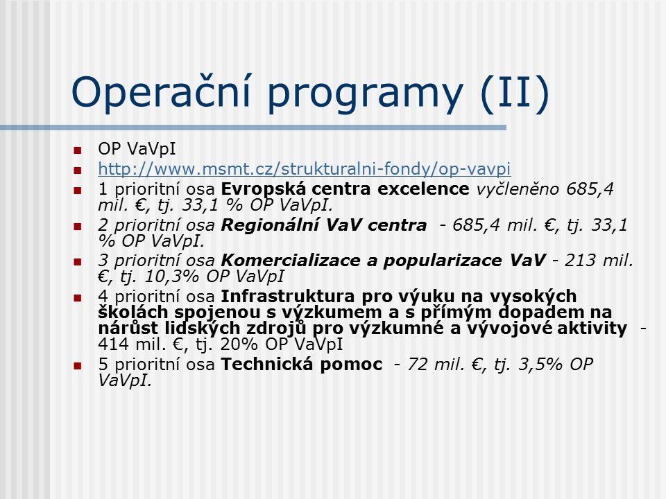 Operační programy (II) OP VaVpI http://www.msmt.cz/strukturalni-fondy/op-vavpi 1 prioritní osa Evropská centra excelence vyčleněno 685,4 mil. €, tj. 3