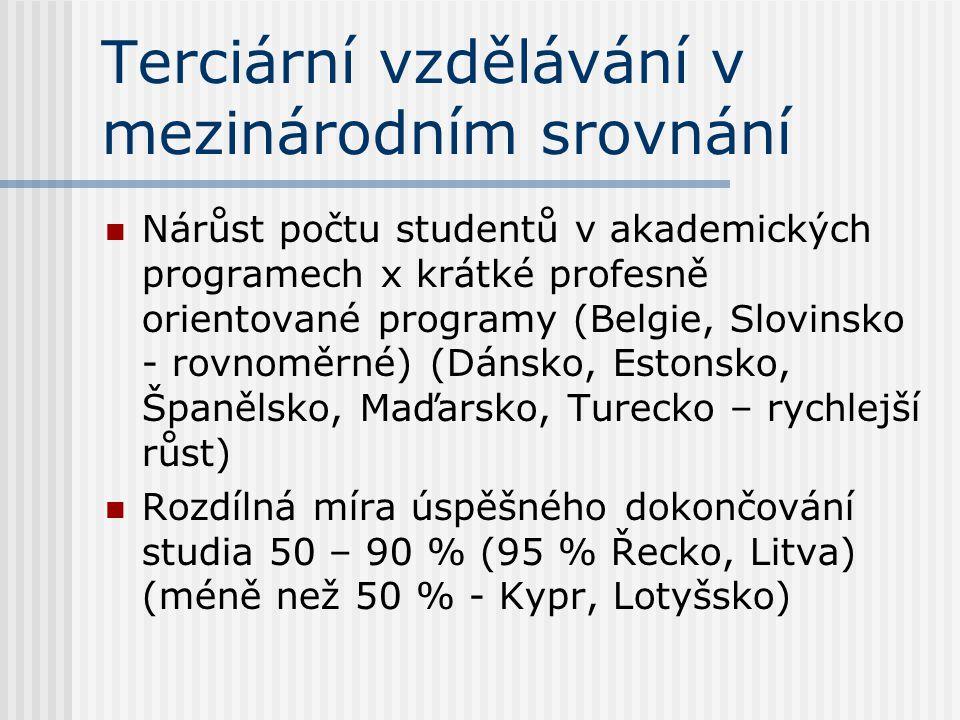 Terciární vzdělávání v mezinárodním srovnání Nárůst počtu studentů v akademických programech x krátké profesně orientované programy (Belgie, Slovinsko - rovnoměrné) (Dánsko, Estonsko, Španělsko, Maďarsko, Turecko – rychlejší růst) Rozdílná míra úspěšného dokončování studia 50 – 90 % (95 % Řecko, Litva) (méně než 50 % - Kypr, Lotyšsko)