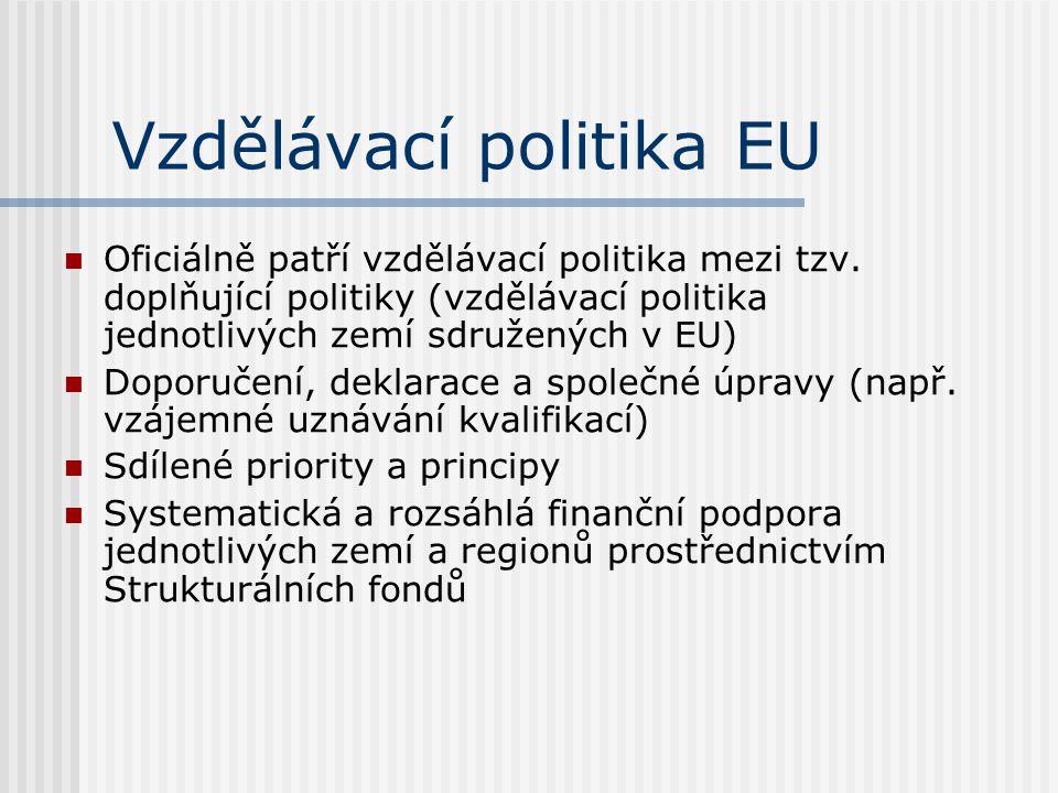Vzdělávací politika EU Oficiálně patří vzdělávací politika mezi tzv. doplňující politiky (vzdělávací politika jednotlivých zemí sdružených v EU) Dopor