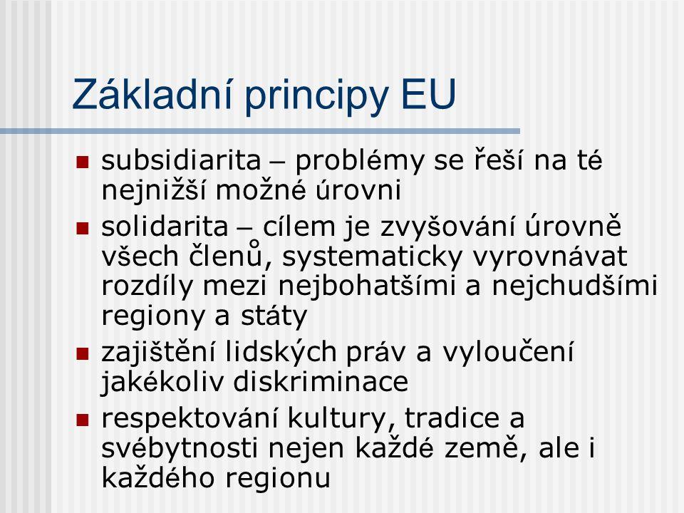 Základní principy EU subsidiarita – probl é my se ře ší na t é nejniž ší možn é ú rovni solidarita – c í lem je zvy š ov á n í úrovně v š ech členů, s