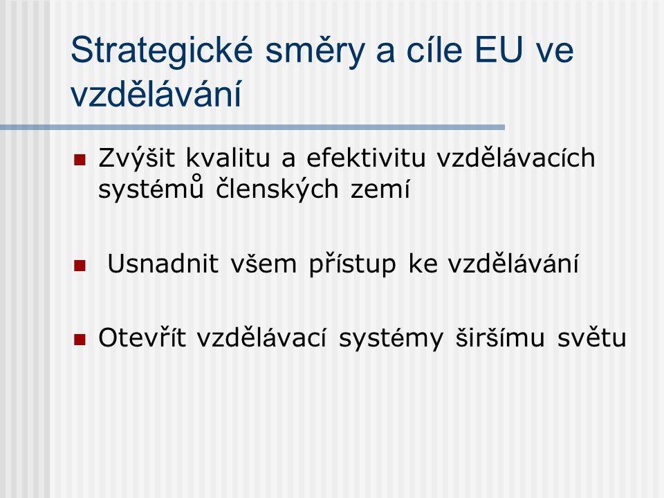 Strategické směry a cíle EU ve vzdělávání Zvý š it kvalitu a efektivitu vzděl á vac í ch syst é mů členských zem í Usnadnit v š em př í stup ke vzděl