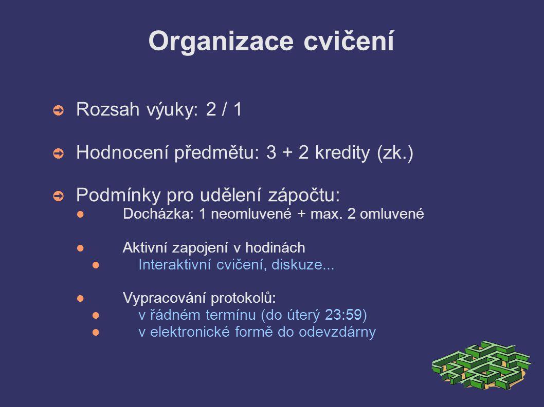Organizace cvičení ➲ Rozsah výuky: 2 / 1 ➲ Hodnocení předmětu: 3 + 2 kredity (zk.) ➲ Podmínky pro udělení zápočtu: Docházka: 1 neomluvené + max.