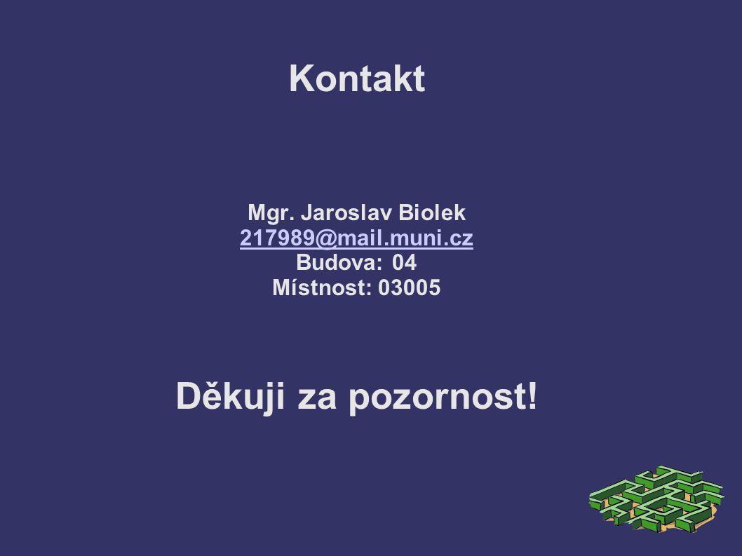 Kontakt Mgr. Jaroslav Biolek 217989@mail.muni.cz Budova: 04 Místnost: 03005 Děkuji za pozornost.