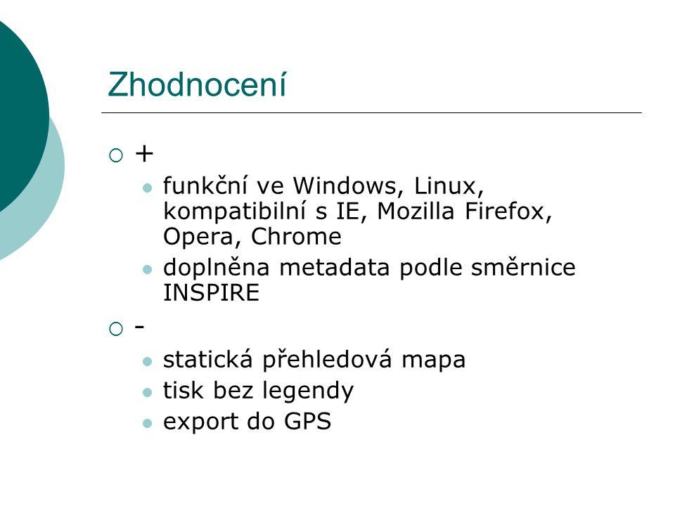 Zhodnocení  + funkční ve Windows, Linux, kompatibilní s IE, Mozilla Firefox, Opera, Chrome doplněna metadata podle směrnice INSPIRE  - statická přeh
