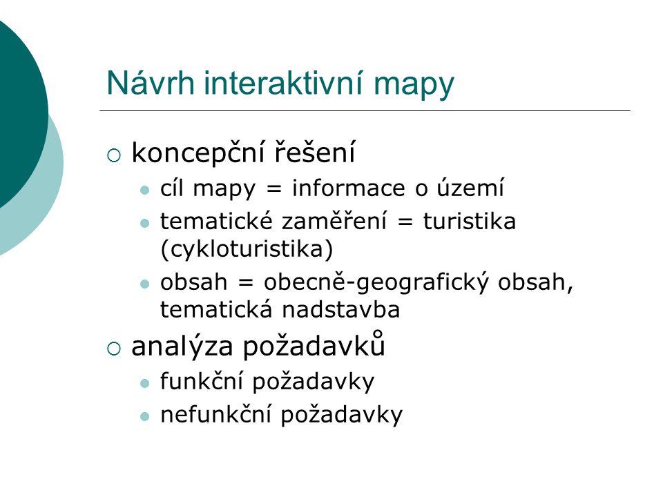 Návrh interaktivní mapy  koncepční řešení cíl mapy = informace o území tematické zaměření = turistika (cykloturistika) obsah = obecně-geografický obs