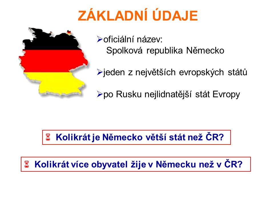 ZÁKLADNÍ ÚDAJE  oficiální název: Spolková republika Německo  jeden z největších evropských států  po Rusku nejlidnatější stát Evropy  Kolikrát je Německo větší stát než ČR.