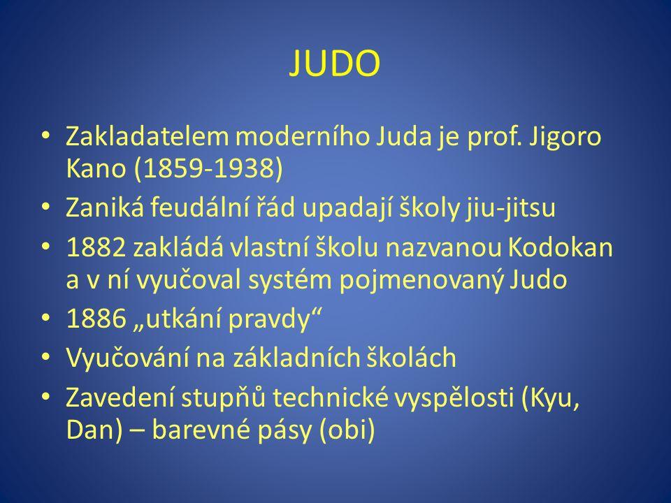 Zakladatelem moderního Juda je prof. Jigoro Kano (1859-1938) Zaniká feudální řád upadají školy jiu-jitsu 1882 zakládá vlastní školu nazvanou Kodokan a