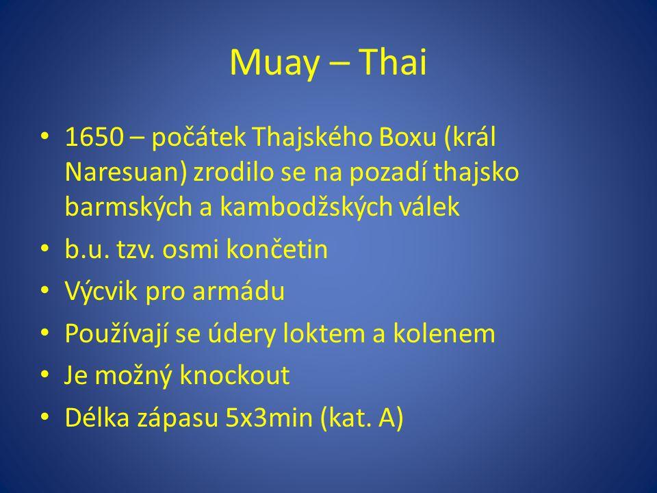Muay – Thai 1650 – počátek Thajského Boxu (král Naresuan) zrodilo se na pozadí thajsko barmských a kambodžských válek b.u. tzv. osmi končetin Výcvik p