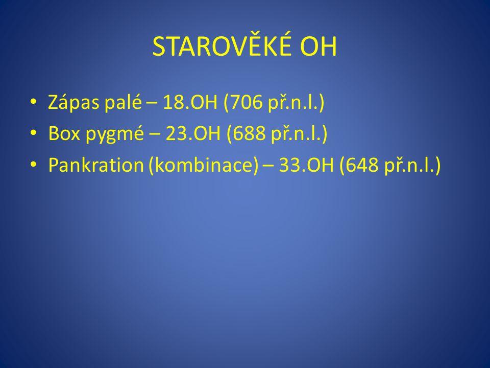 STAROVĚKÉ OH Zápas palé – 18.OH (706 př.n.l.) Box pygmé – 23.OH (688 př.n.l.) Pankration (kombinace) – 33.OH (648 př.n.l.)