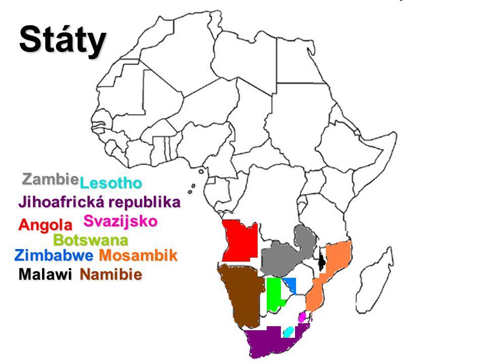Jihoafrická republika Angola Botswana ZimbabweMosambik MalawiNamibie Zambie Lesotho Svazijsko Státy