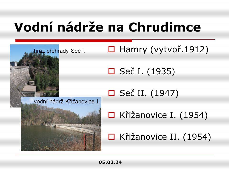 Vodní nádrže na Chrudimce  Hamry (vytvoř.1912)  Seč I.