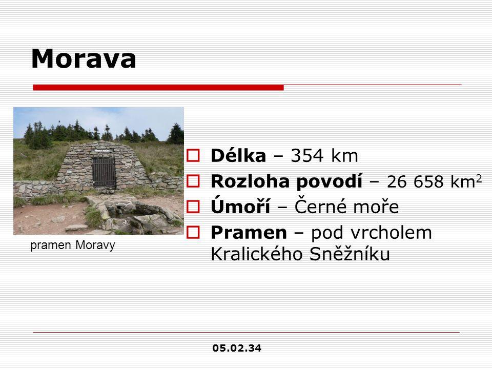 Morava  Délka – 354 km  Rozloha povodí – 26 658 km 2  Úmoří – Černé moře  Pramen – pod vrcholem Kralického Sněžníku pramen Moravy 05.02.34