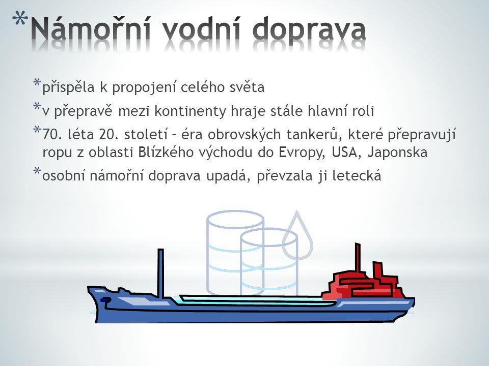 * přispěla k propojení celého světa * v přepravě mezi kontinenty hraje stále hlavní roli * 70. léta 20. století – éra obrovských tankerů, které přepra