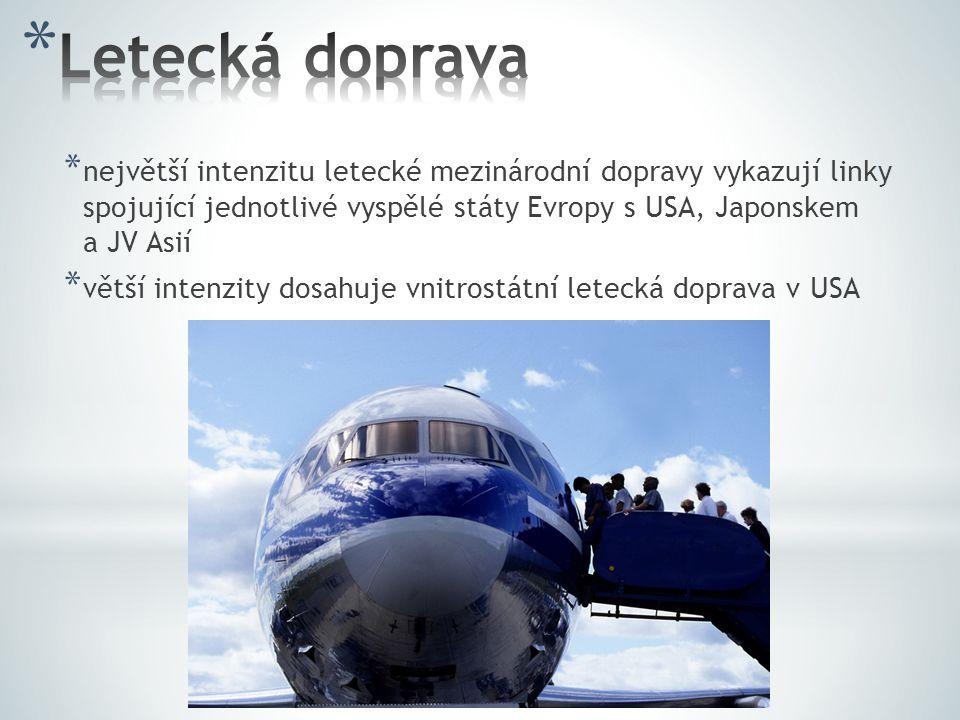 * největší intenzitu letecké mezinárodní dopravy vykazují linky spojující jednotlivé vyspělé státy Evropy s USA, Japonskem a JV Asií * větší intenzity