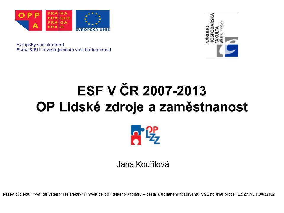 OP Lidské zdroje a zaměstnanost Schválen Evropskou komisí 16.10.2007 Vícecílový OP (Konvergence, Regionální konkurenceschopnost a zaměstnanost) Řídící orgán: MPSV Zprostředkující subjekt: MPSV, MV, MPO Financován z ESF