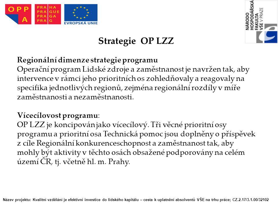 Název projektu: Kvalitní vzdělání je efektivní investice do lidského kapitálu – cesta k uplatnění absolventů VŠE na trhu práce; CZ.2.17/3.1.00/32102 Strategie OP LZZ Regionální dimenze strategie programu Operační program Lidské zdroje a zaměstnanost je navržen tak, aby intervence v rámci jeho prioritních os zohledňovaly a reagovaly na specifika jednotlivých regionů, zejména regionální rozdíly v míře zaměstnanosti a nezaměstnanosti.