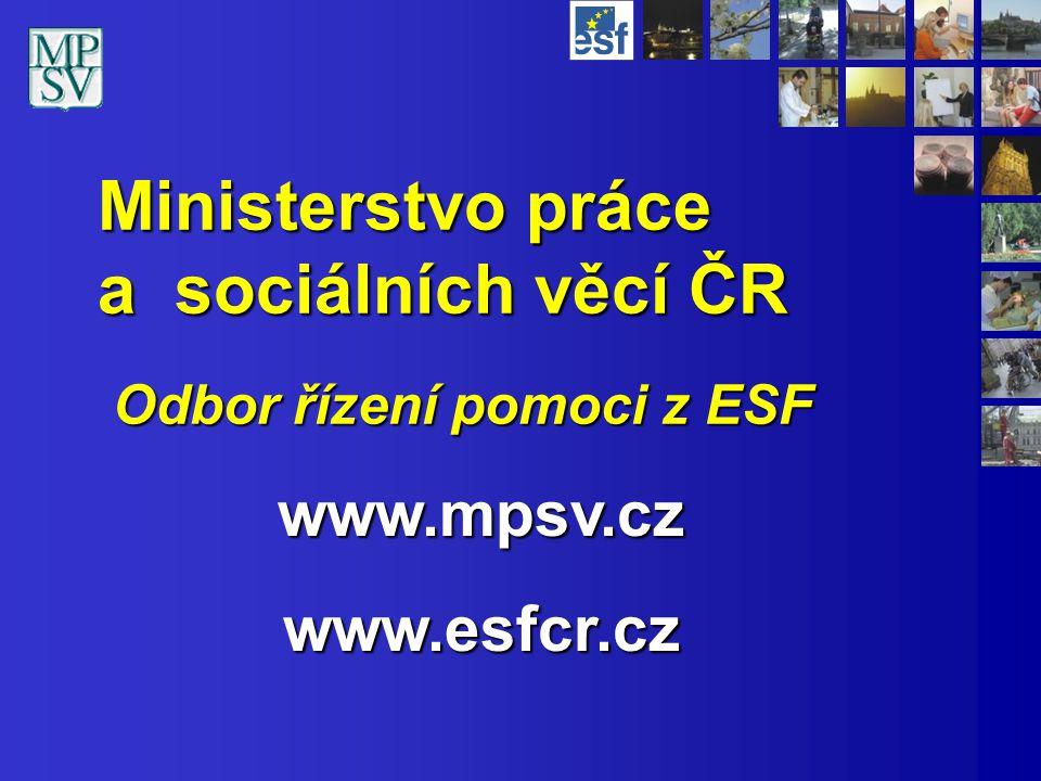 Ministerstvo práce a sociálních věcí ČR Odbor řízení pomoci z ESF www.mpsv.czwww.esfcr.cz
