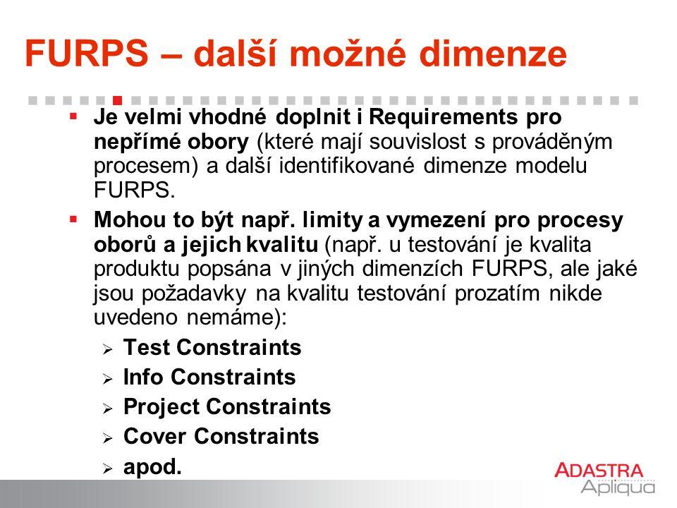 FURPS – další možné dimenze  Je velmi vhodné doplnit i Requirements pro nepřímé obory (které mají souvislost s prováděným procesem) a další identifik