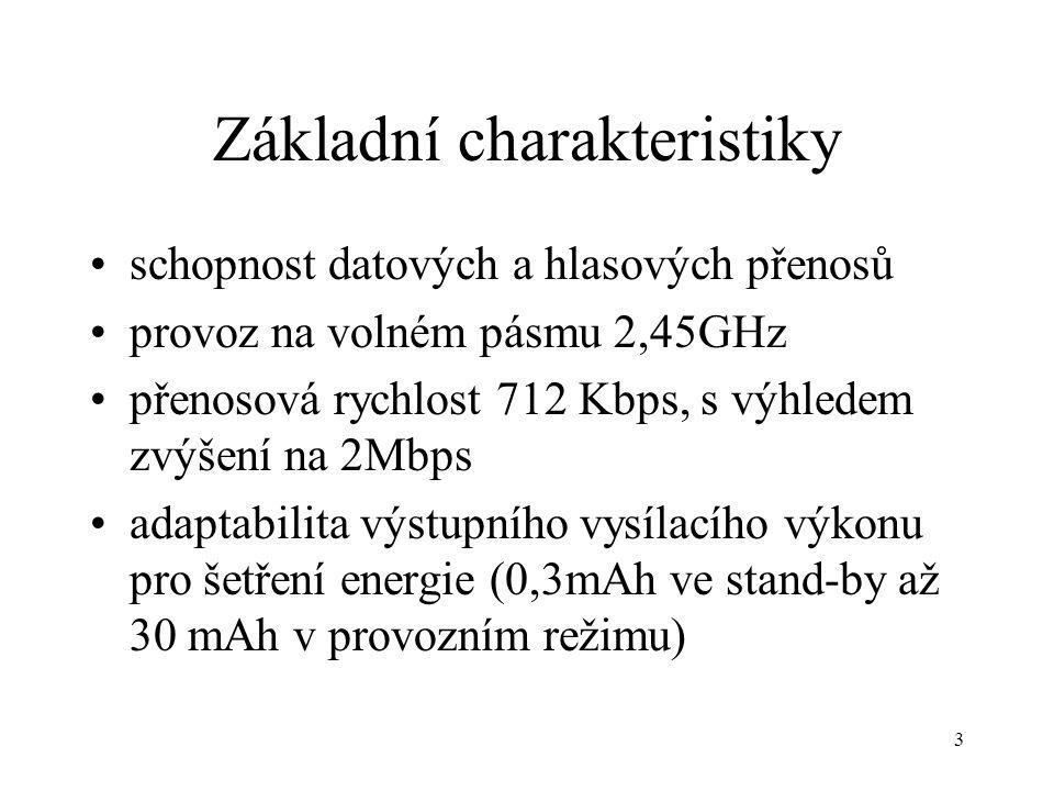 3 Základní charakteristiky schopnost datových a hlasových přenosů provoz na volném pásmu 2,45GHz přenosová rychlost 712 Kbps, s výhledem zvýšení na 2Mbps adaptabilita výstupního vysílacího výkonu pro šetření energie (0,3mAh ve stand-by až 30 mAh v provozním režimu)