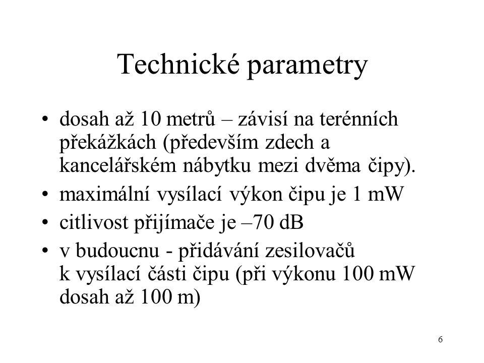 6 Technické parametry dosah až 10 metrů – závisí na terénních překážkách (především zdech a kancelářském nábytku mezi dvěma čipy). maximální vysílací