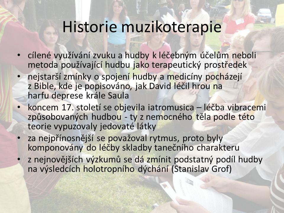 Historie muzikoterapie cílené využívání zvuku a hudby k léčebným účelům neboli metoda používající hudbu jako terapeutický prostředek nejstarší zmínky