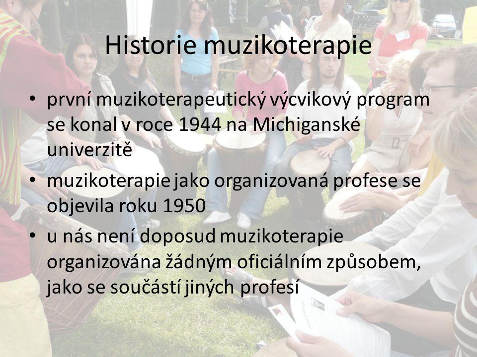 Historie muzikoterapie první muzikoterapeutický výcvikový program se konal v roce 1944 na Michiganské univerzitě muzikoterapie jako organizovaná profe