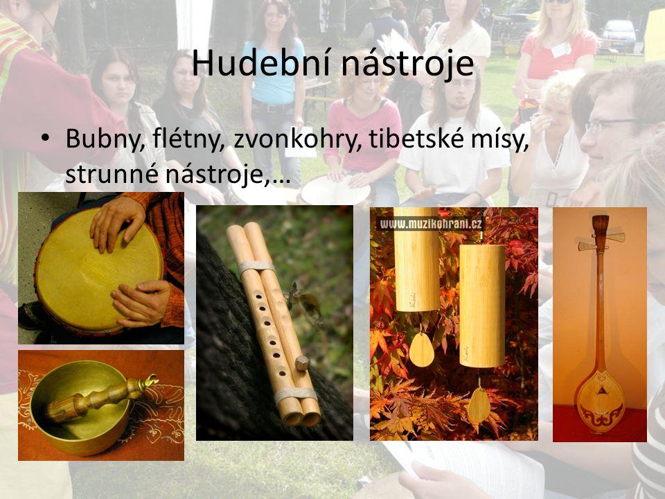 Hudební nástroje Bubny, flétny, zvonkohry, tibetské mísy, strunné nástroje,…