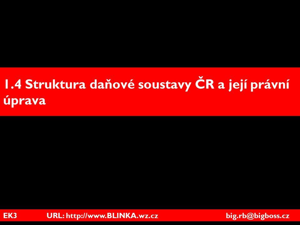 EK3 URL: http://www.BLINKA.wz.cz big.rb@bigboss.cz 1.4 Struktura daňové soustavy ČR a její právní úprava