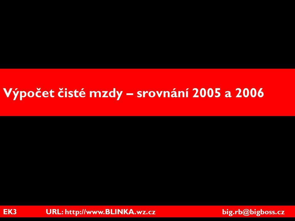 EK3 URL: http://www.BLINKA.wz.cz big.rb@bigboss.cz Výpočet čisté mzdy – srovnání 2005 a 2006