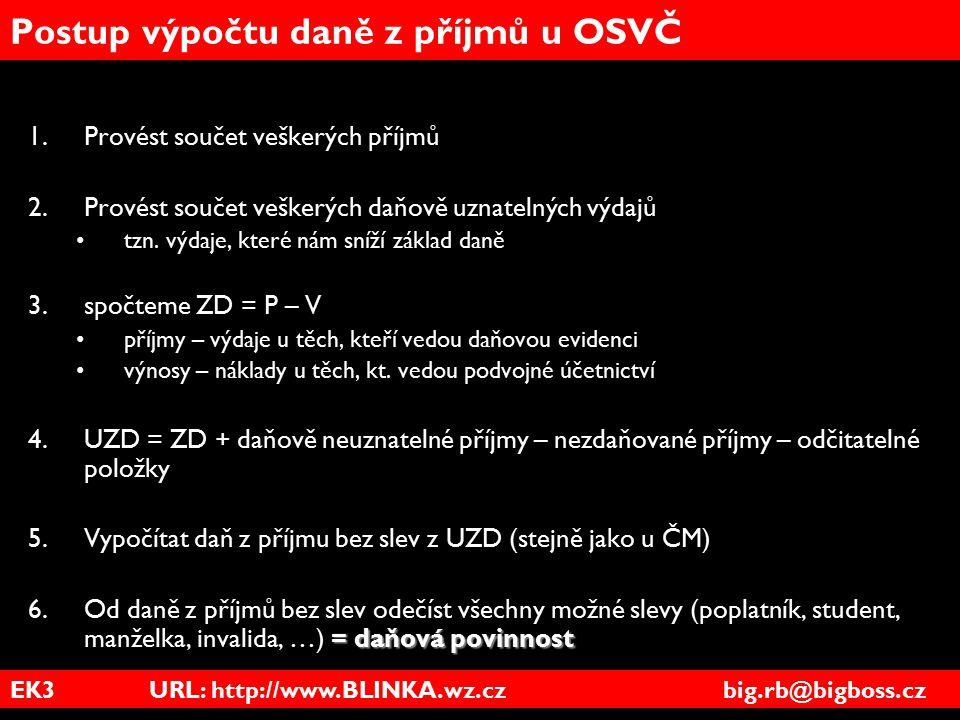 EK3 URL: http://www.BLINKA.wz.cz big.rb@bigboss.cz Postup výpočtu daně z příjmů u OSVČ 1.Provést součet veškerých příjmů 2.Provést součet veškerých da