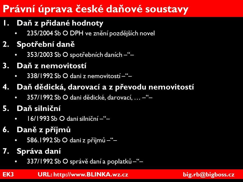 EK3 URL: http://www.BLINKA.wz.cz big.rb@bigboss.cz Právní úprava české daňové soustavy 1.Daň z přidané hodnoty 235/2004 Sb O DPH ve znění pozdějších n