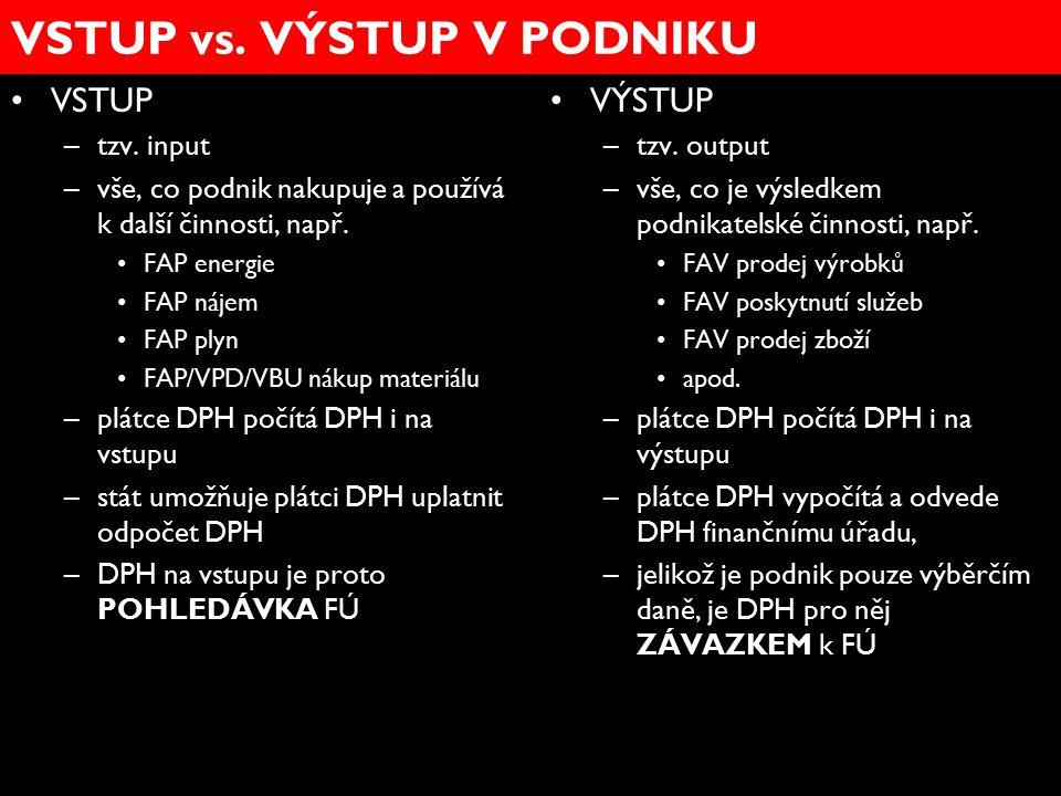 VSTUP vs. VÝSTUP V PODNIKU VSTUP –tzv. input –vše, co podnik nakupuje a používá k další činnosti, např. FAP energie FAP nájem FAP plyn FAP/VPD/VBU nák