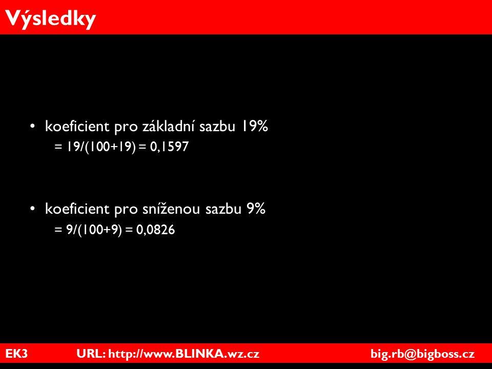 EK3 URL: http://www.BLINKA.wz.cz big.rb@bigboss.cz Výsledky koeficient pro základní sazbu 19% = 19/(100+19) = 0,1597 koeficient pro sníženou sazbu 9%