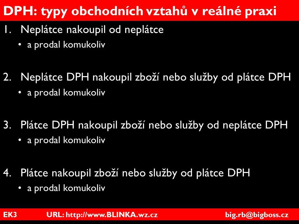 EK3 URL: http://www.BLINKA.wz.cz big.rb@bigboss.cz DPH: typy obchodních vztahů v reálné praxi 1.Neplátce nakoupil od neplátce a prodal komukoliv 2.Nep