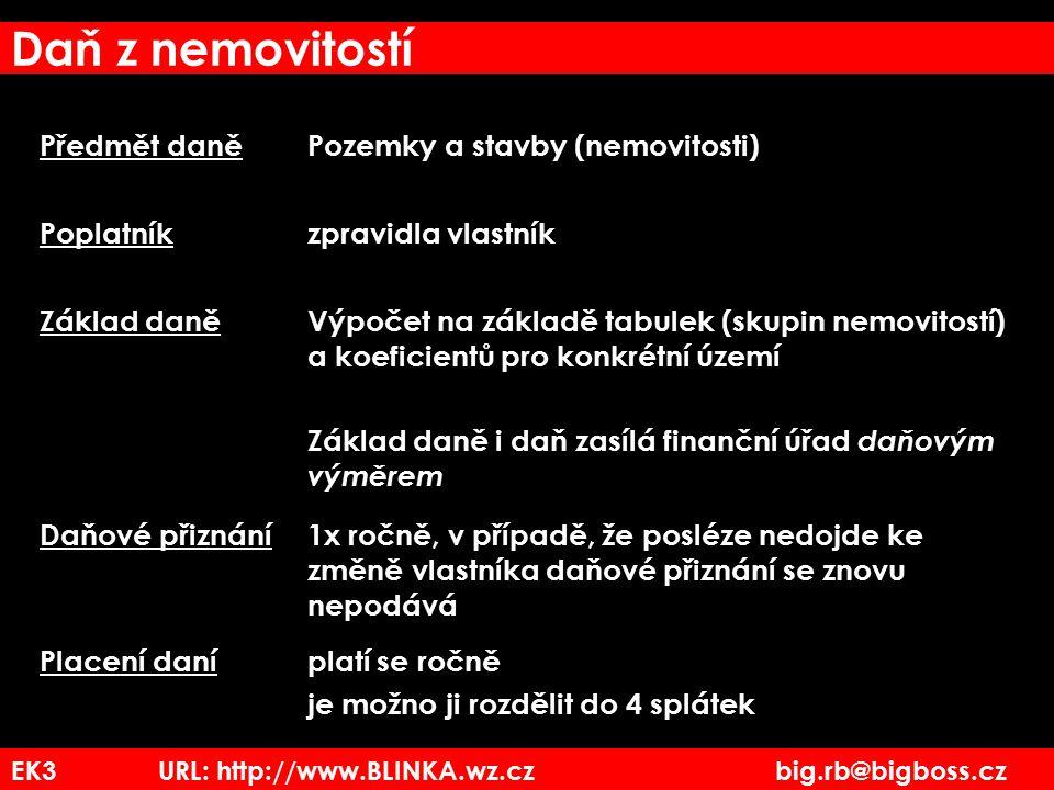 EK3 URL: http://www.BLINKA.wz.cz big.rb@bigboss.cz Daň z nemovitostí Předmět daněPozemky a stavby (nemovitosti) Poplatníkzpravidla vlastník Základ dan