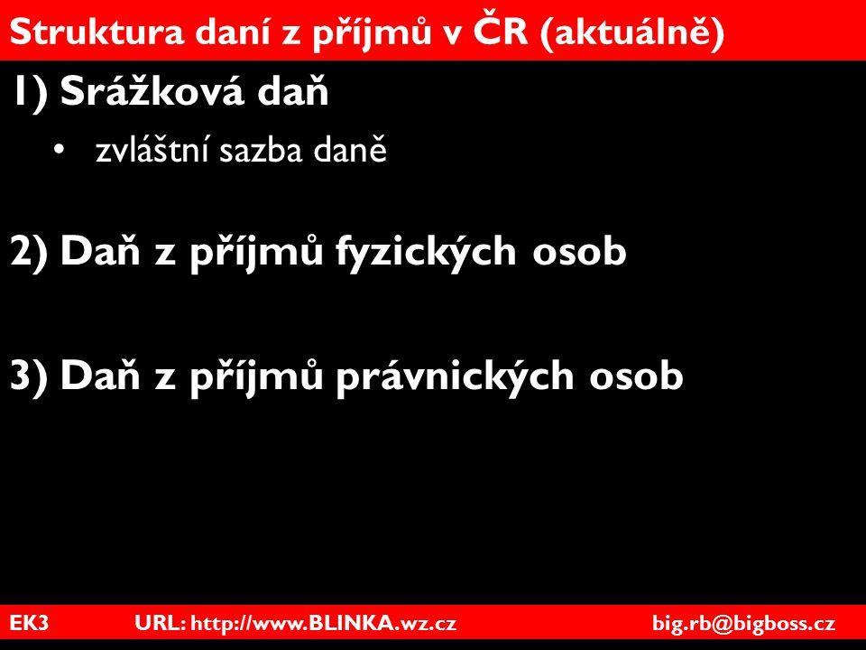 EK3 URL: http://www.BLINKA.wz.cz big.rb@bigboss.cz Struktura daní z příjmů v ČR (aktuálně) 1)Srážková daň zvláštní sazba daně 2)Daň z příjmů fyzických