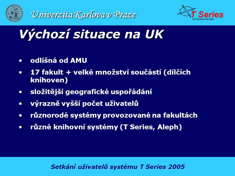 Univerzita Karlova v Praze Výchozí situace na UK odlišná od AMU 17 fakult + velké množství součástí (dílčích knihoven) složitější geografické uspořádání výrazně vyšší počet uživatelů různorodé systémy provozované na fakultách různé knihovní systémy (T Series, Aleph) Setkání uživatelů systému T Series 2005