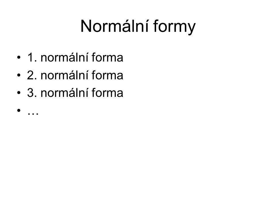 Normální formy 1. normální forma 2. normální forma 3. normální forma …