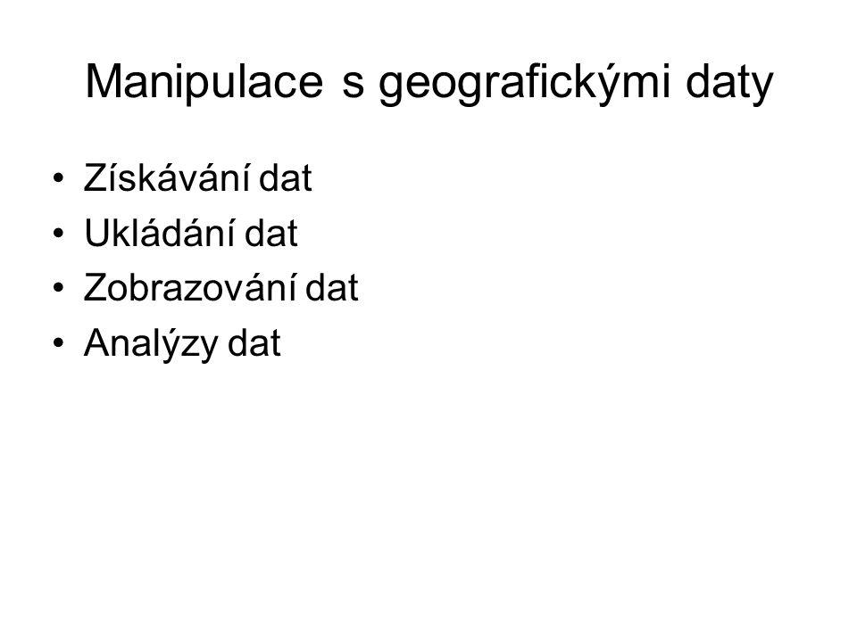 Manipulace s geografickými daty Získávání dat Ukládání dat Zobrazování dat Analýzy dat