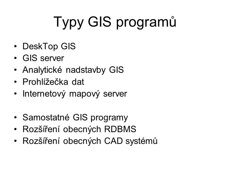 Typy GIS programů DeskTop GIS GIS server Analytické nadstavby GIS Prohlížečka dat Internetový mapový server Samostatné GIS programy Rozšíření obecných RDBMS Rozšíření obecných CAD systémů